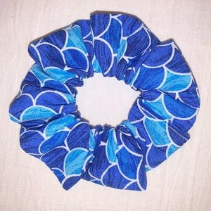 3/$15 Mermaid blue hair Scrunchie handmade new